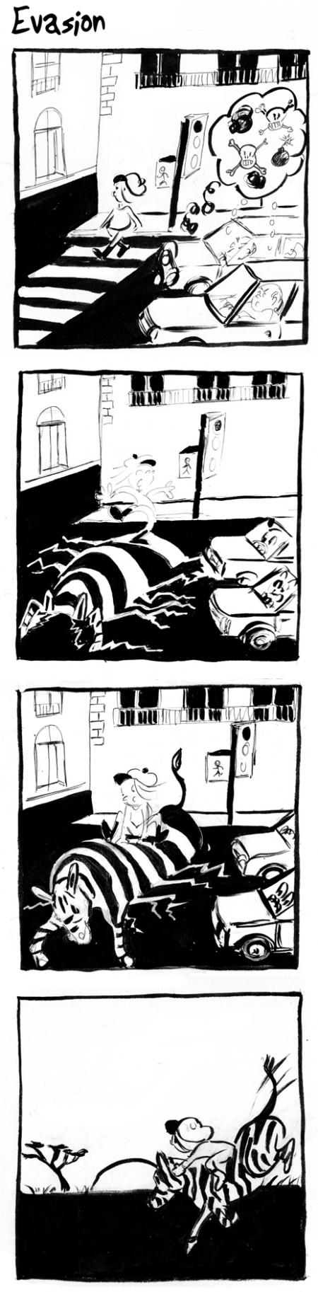 webzine,bd,gratuit,zébra,bande-dessinée,fanzine,strip,lola,aurélie dekeyser,zébra,évasion,passage piétons,carrefour