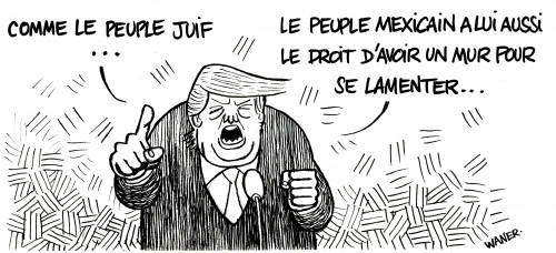 webzine,bd,zébra,fanzine,gratuit,bande-dessinée,caricature,donald trump,usa,juif,mexique,mur,lamentations,dessin,presse,satirique,editorial cartoon,waner