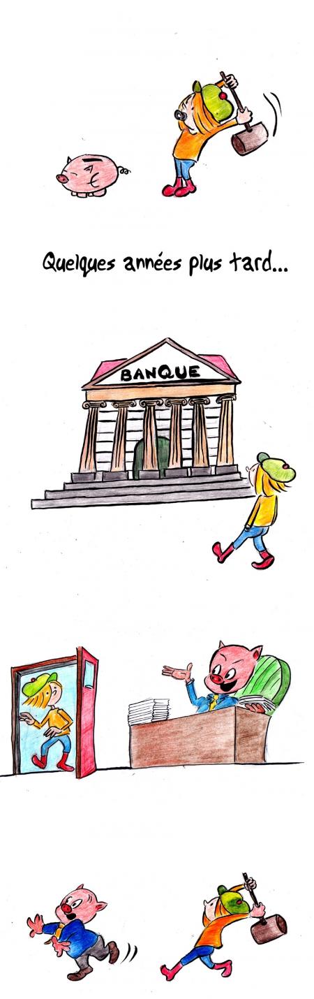 webzine,bd,gratuit,zébra,bande-dessinée,fanzine,strip,lola,aurélie dekeyser,banque,tire-lire,cochon,humour,gag