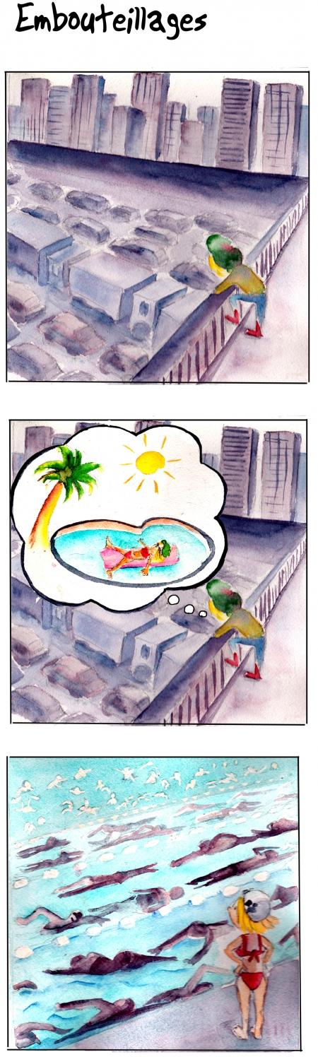 webzine,bd,gratuit,zébra,bande-dessinée,fanzine,strip,lola,aurélie dekeyser,paris,périphérique,embouteillage,piscine