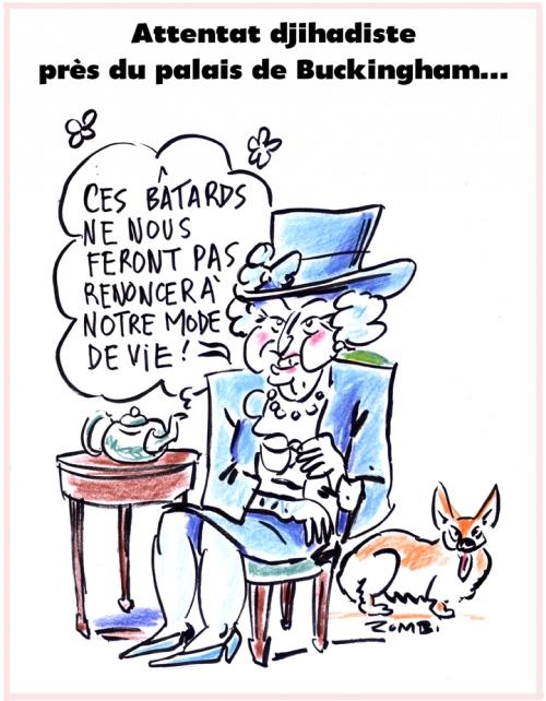 webzine,bd,zébra,gratuit,fanzine,bande-dessinée,caricature,élisabeth ii,reine,buckingham palace,attentat,djihadiste,dessin,presse,satirique,editorial cartoon,zombi