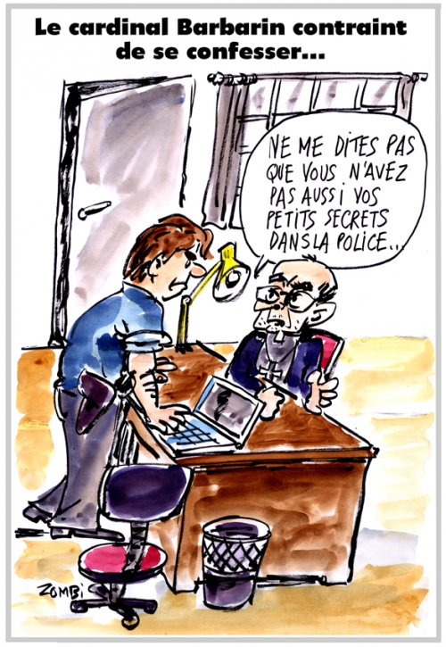 webzine,bd,zébra,fanzine,gratuit,bande-dessinée,caricature,cardinal,barbarin,police,audition,confession,pédophilie,dessin,presse,satirique,editorial cartoon,zombi