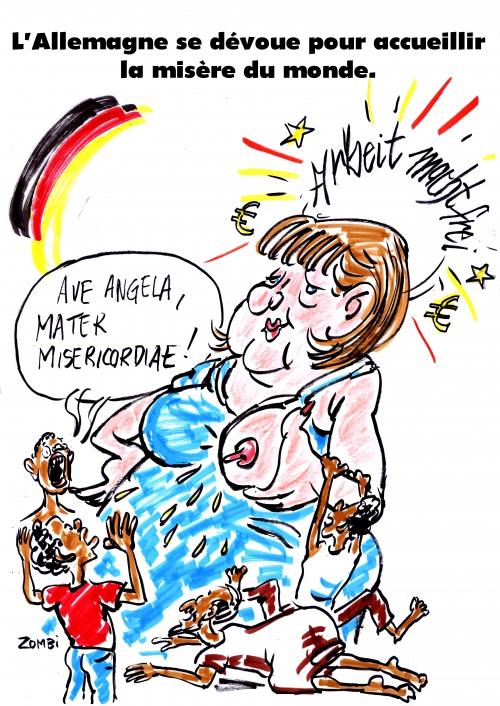 webzine,bd,gratuit,zébra,fanzine,bande-dessinée,caricature,angela merkel,réfugiés,allemagne,mater misericordiae,dessin,presse,satirique,editorial cartoon,zombi