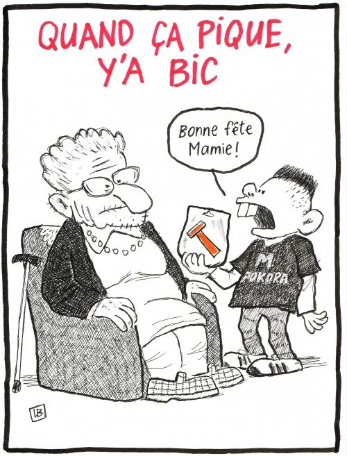 wezbine,bd,zébra,fanzine,gratuit,bande-dessinée,caricature,fête,grand-mère,mamie,bic,rasoir,dessin,presse,satirique