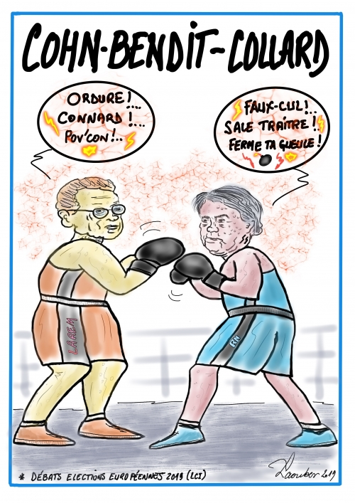 webzine,bd,dessin,gratuit,zébra,fanzine,bande-dessinée,caricature,collard,cohn-bendit,ring,boxe,presse,satirique,laouber,editorial cartoon