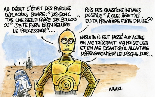 webzine,bd,zébra,gratuit,fanzine,bande-dessinée,caricature,harcèlement,robot,star wars,dessin,presse,satirique,waner,editorial cartoon