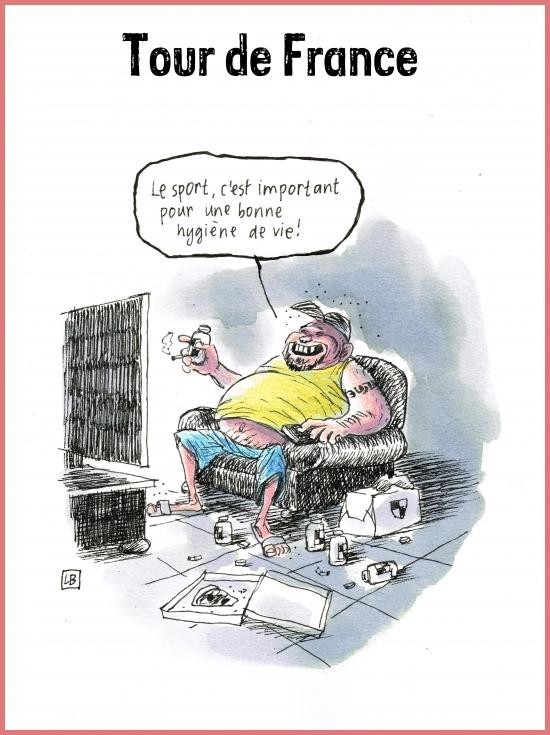 webzine,bd,gratuit,zébra,fanzine,bande-dessinée,caricature,tour de france,télévision,sport,spectateur,dessin,presse,satirique,editorial cartoon,lb