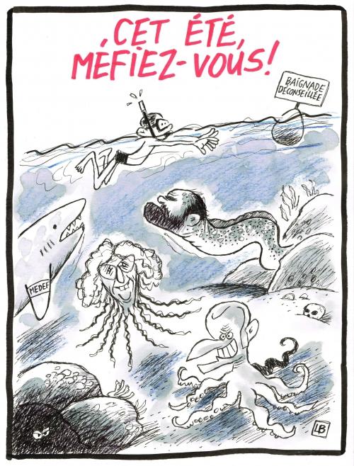 webzine,bd,zébra,gratuit,fanzine,caricature,emmanuel macron,pieuvre,méduse,muriel pénicaud,edouard philippe,murène,requin,été,2017,baignade,medef,énigmatique lb,dessin,presse,siné-mensuel