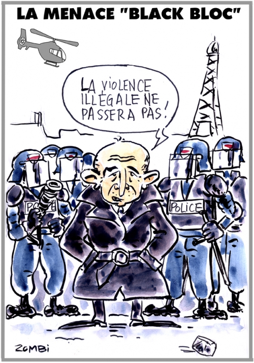 webzine,bd,zébra,fanzine,gratuit,bande-dessinée,caricature,gérard collomb,black block,menace,crs,paris,1er mai,dessin,presse,satirique,editorial cartoon,zombi