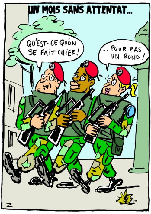 webzine,bd,fanzine,gratuit,zébra,bande-dessinée,caricature,vigipirate,terrorisme,attentat,armée,patrouille,militaire,dessin,presse,satirique,editorial cartoon,zombi