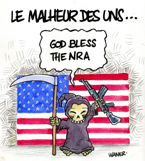 webzine,bd,zébra,gratuit,fanzine,bande-dessinée,caricature,nra,usa,port d'armes,god bless,dessin,presse,satirique,editorial cartoon,waner