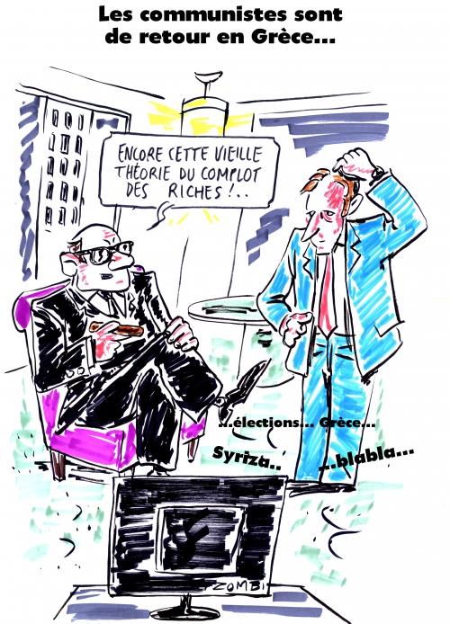 webzine,gratuit,zébra,bd,fanzine,bande-dessinée,caricature,syriza,grèce,élections législatives,théorie,complot,dessin,presse,satirique,editorial cartoon,zombi