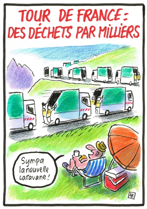 webzine,bd,zébra,gratuit,fanzine,bande-dessinée,caricature,tour de france,déchets,pollution,cyclisme,dessin,presse,satirique,editorial cartoon,siné-mensuel,lb