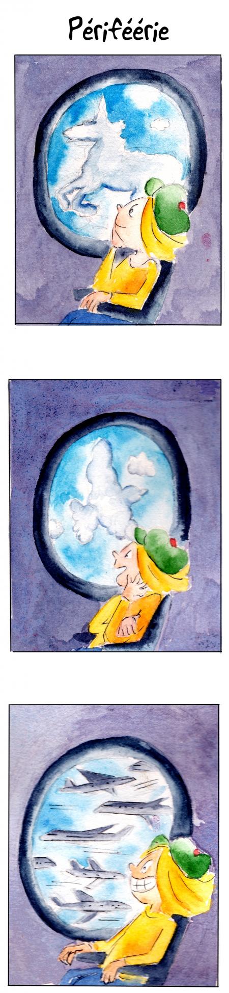 webzine,bd,gratuit,zébra,bande-dessinée,fanzine,strip,lola,aurélie dekeyser,voyage,avion,ciel,trafic aérien,nuages