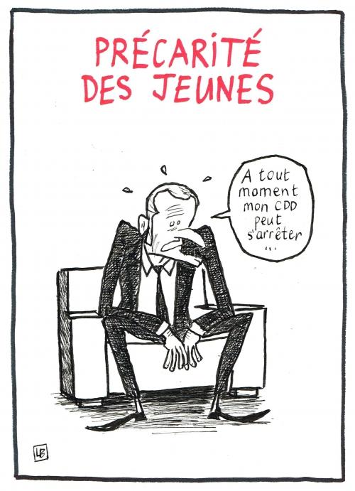 webzine,bd,zébra,fanzine,bande-dessinée,caricature,emmanuel macron,précarité,jeune,travail,dessin,presse,satirique,editorial cartoon,lb
