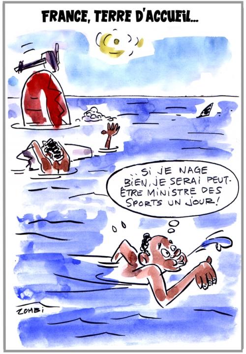 webzine,bd,zébra,fanzine,gratuit,bande-dessinée,caricature,migrants,noyade,france,accueil,méditerranée,dessin,presse,satirique,editorial cartoon,zombi