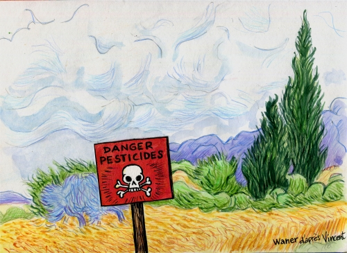 webzine,bd,zébra,gratuit,fanzine,bande-dessinée,caricature,pesticides,paysage,van gogh,waner,dessin,presse,satirique,editorial cartoon