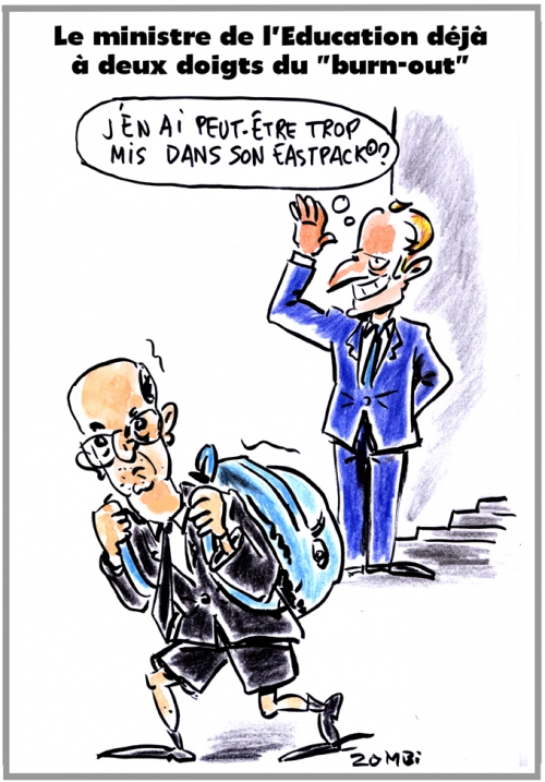 webzine,bd,zébra,gratuit,fanzine,bande-dessinée,caricature,jean-michel blanquer,macron,éducation nationale,eastpack,burn-out,réforme,dessin,presse,satirique,editorial cartoon,zombi
