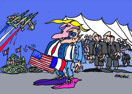 webzine,bd,zébra,gratuit,fanzine,bande-dessinée,caricature,président macron,donald trump,14 juillet,fête nationale,krokus,dessin,presse,satirique,editorial cartoon