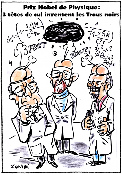 webzine,bd,gratuit,zébra,fanzine,bande-dessinée,caricature,trou noir,prix nobel,physique,2017,rainer weiss,barry barrish,kip thorne,onde gravitationnelle,dessin,presse,satirique,editorial cartoon,zombi