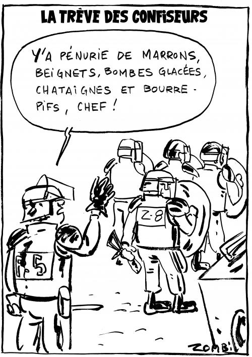 webzine,bd,zébra,gratuit,fanzine,bande-dessinée,caricature,crs,police,bombe,trêve,confiseurs,2018,dessin,presse,satirique,editorial cartoon,zombi